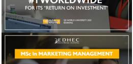 QS ranks EDHEC's Global MBA and MSc in Marketing Management among the world's most prestigious degrees in 2020-21